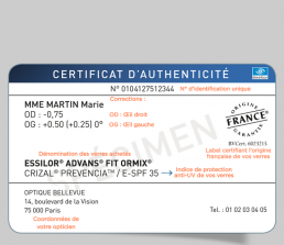 Le certificat d'authenticité Essilor 1